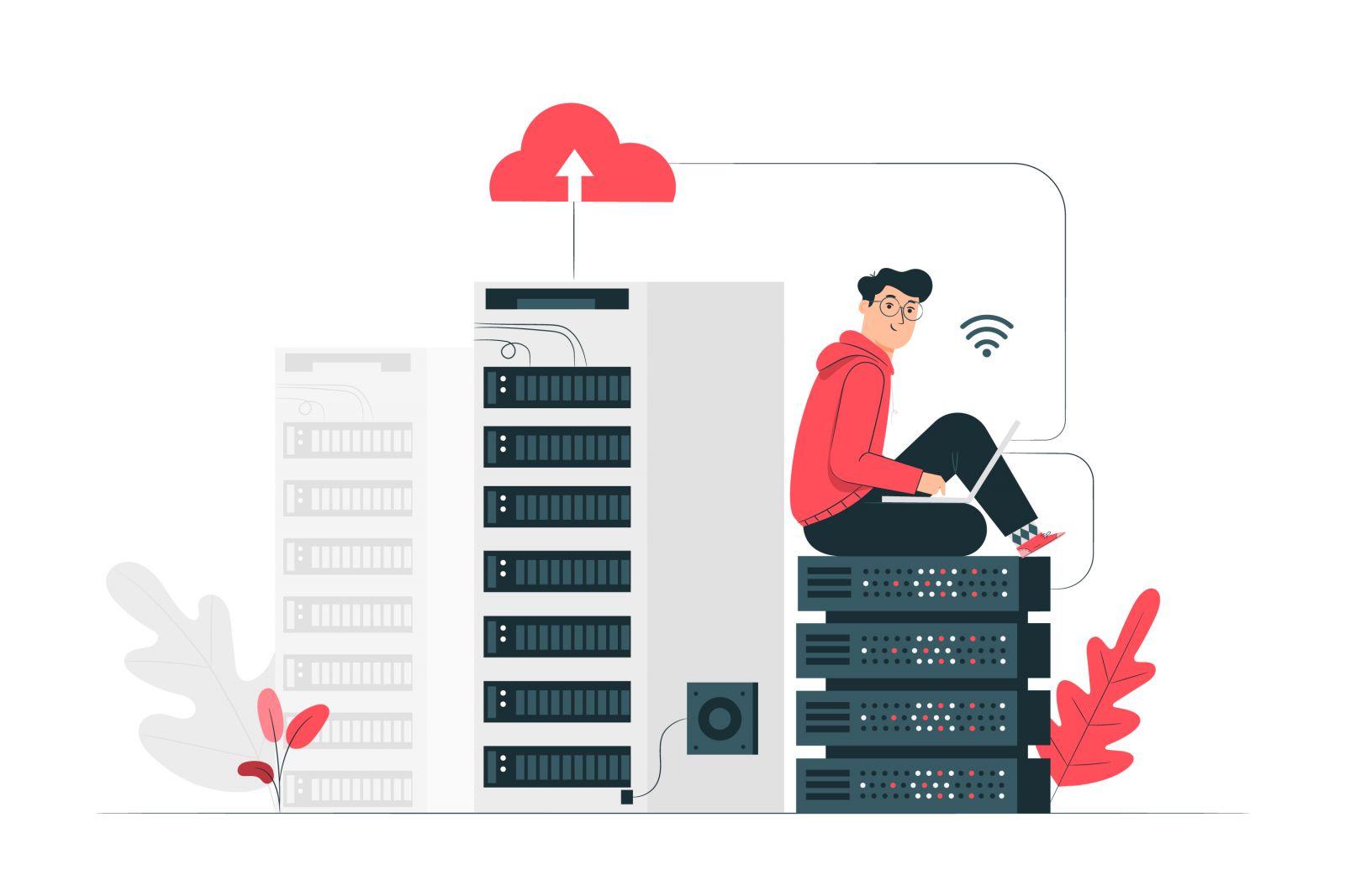 ilustração de usuário ligado ao servidor