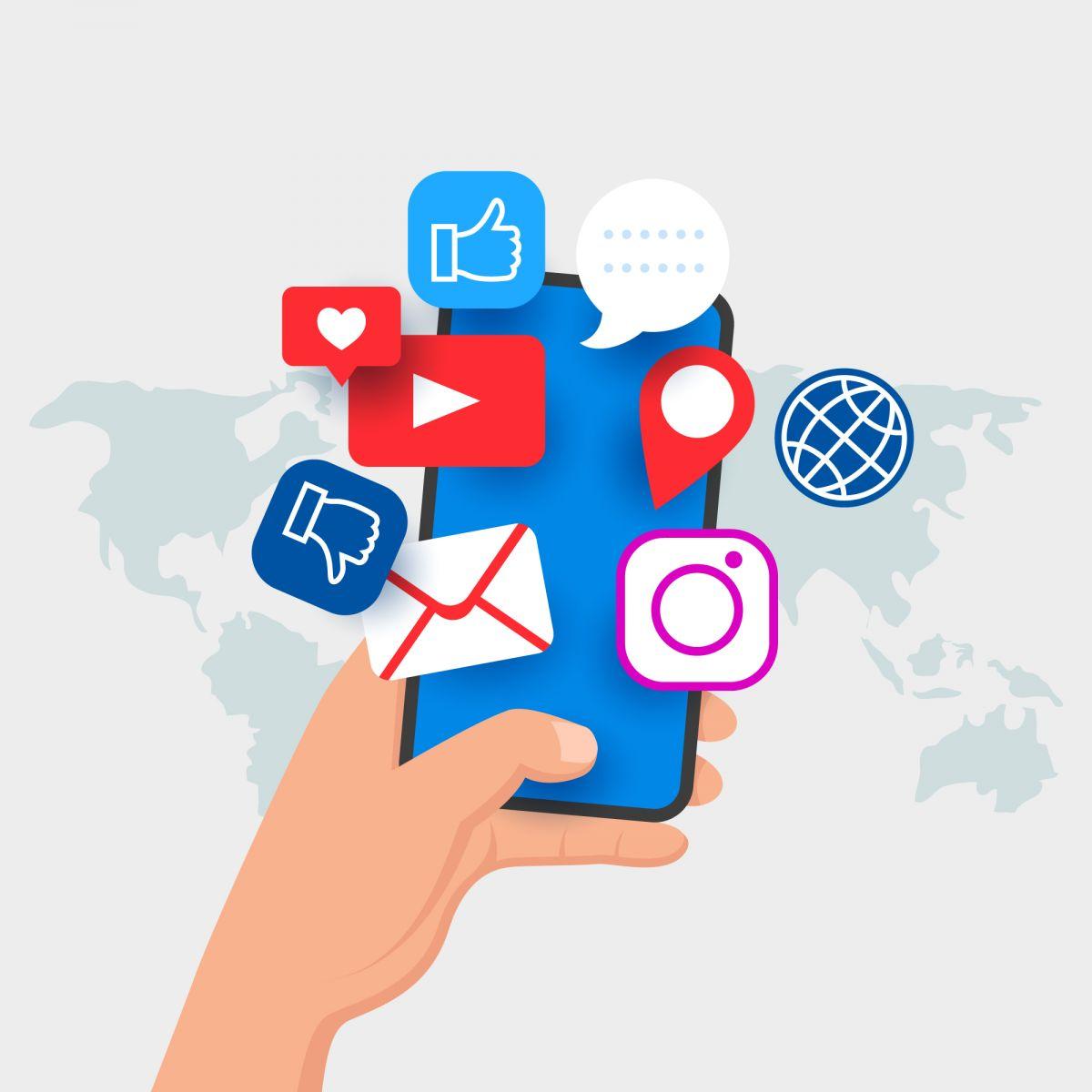 redes sociais em um smartphone