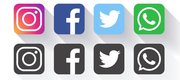Logo do Facebook Instagram Linkedin Whatsapp