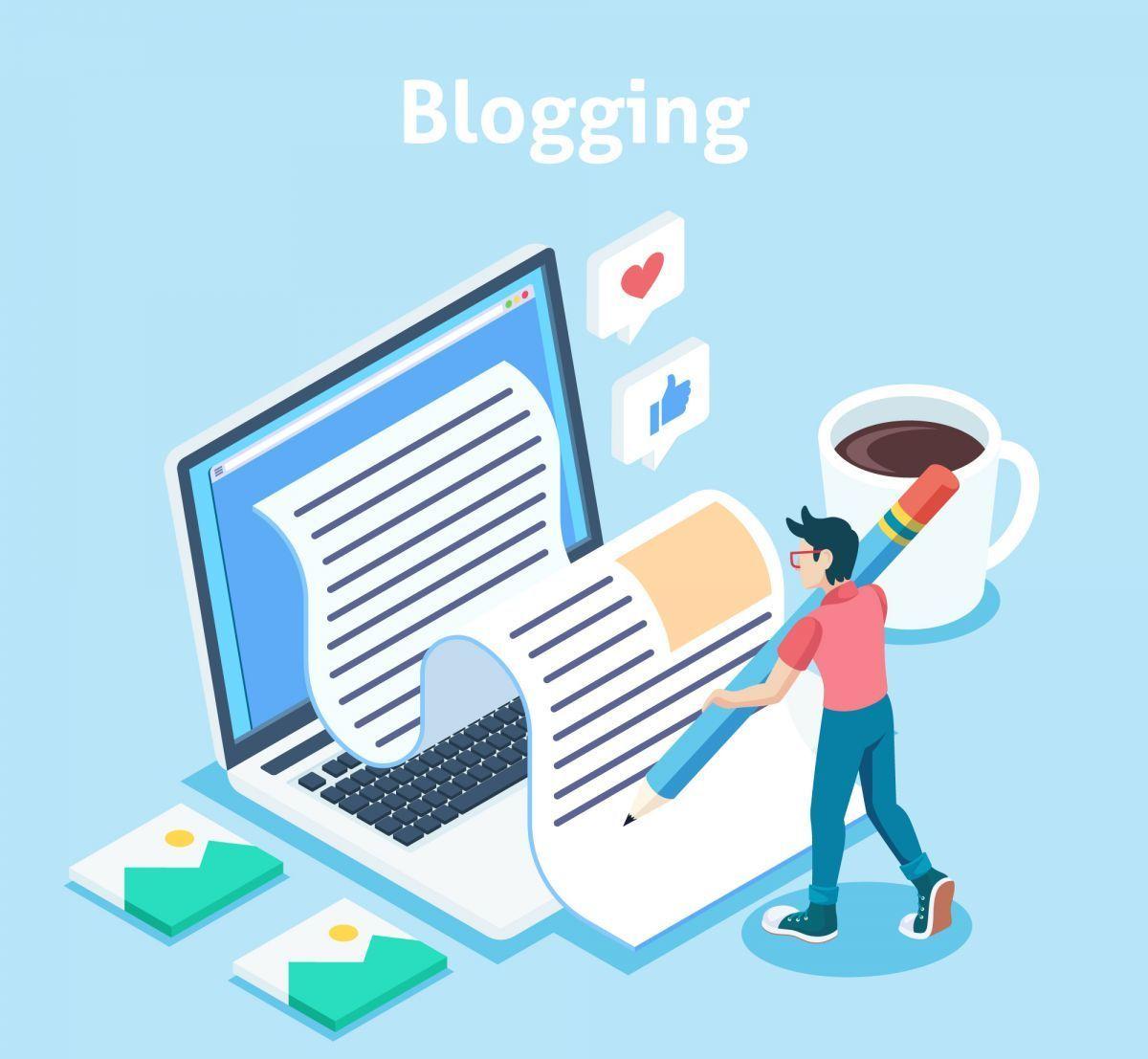 arte jovem escrevendo um blog
