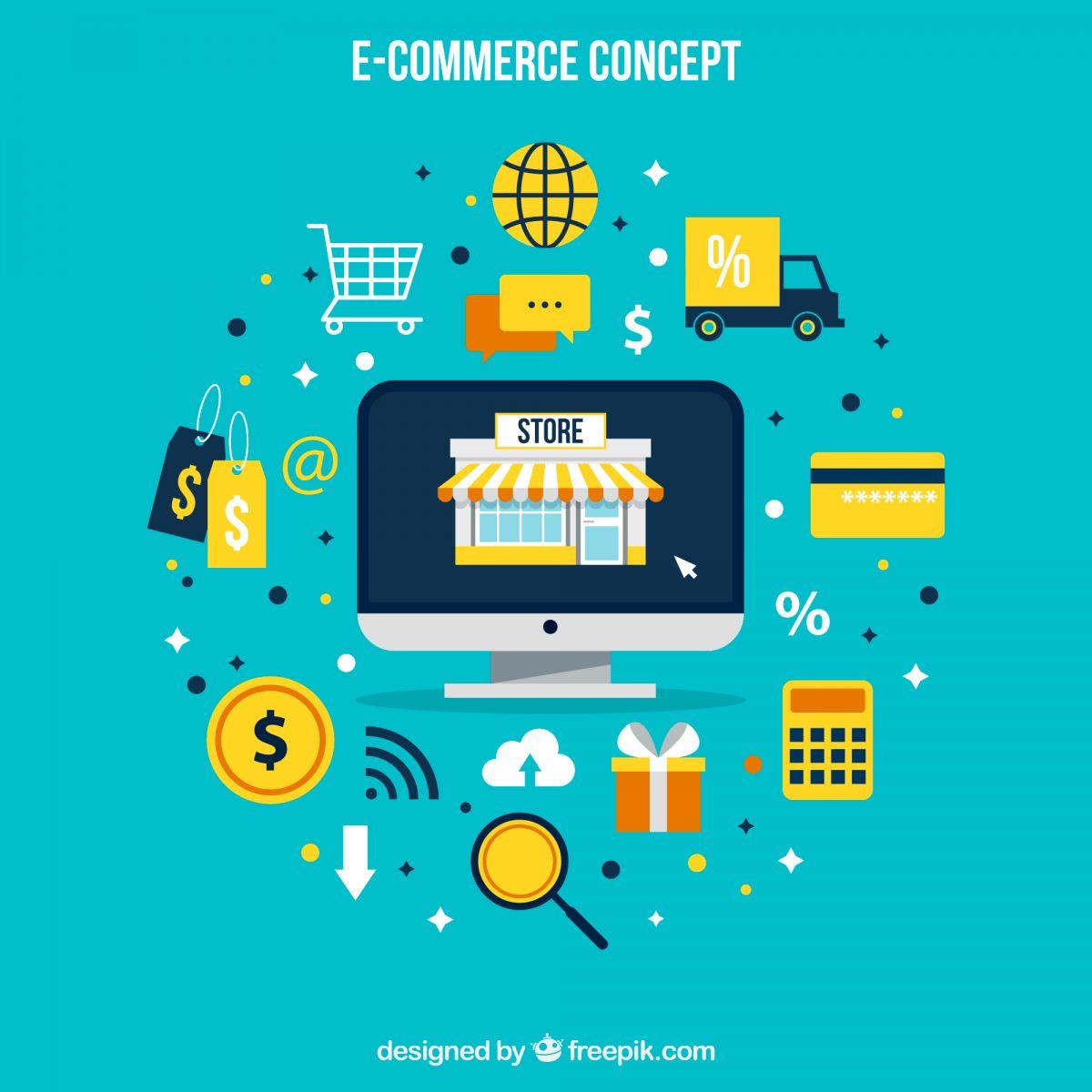arte de um e-commerce funcionando