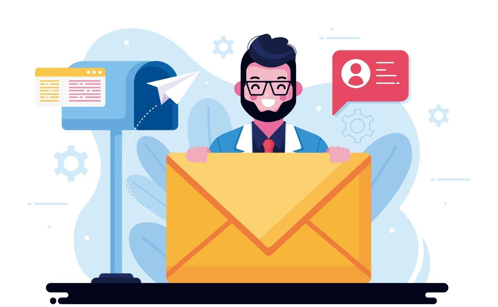 arte de homem lendo emails