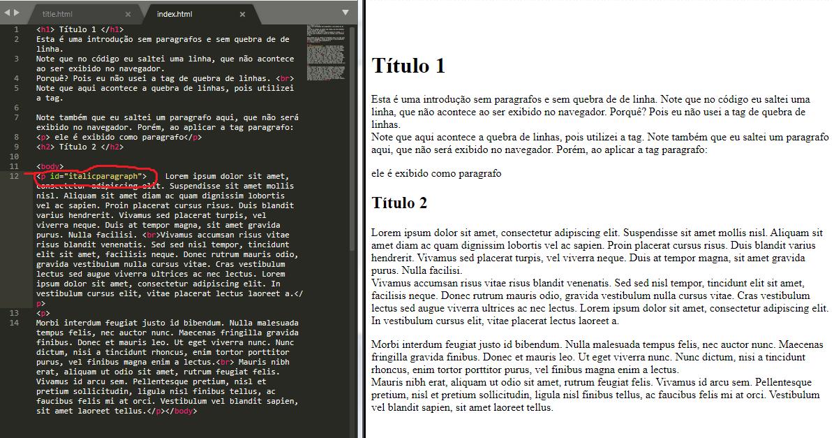 exemplo de atributos em html