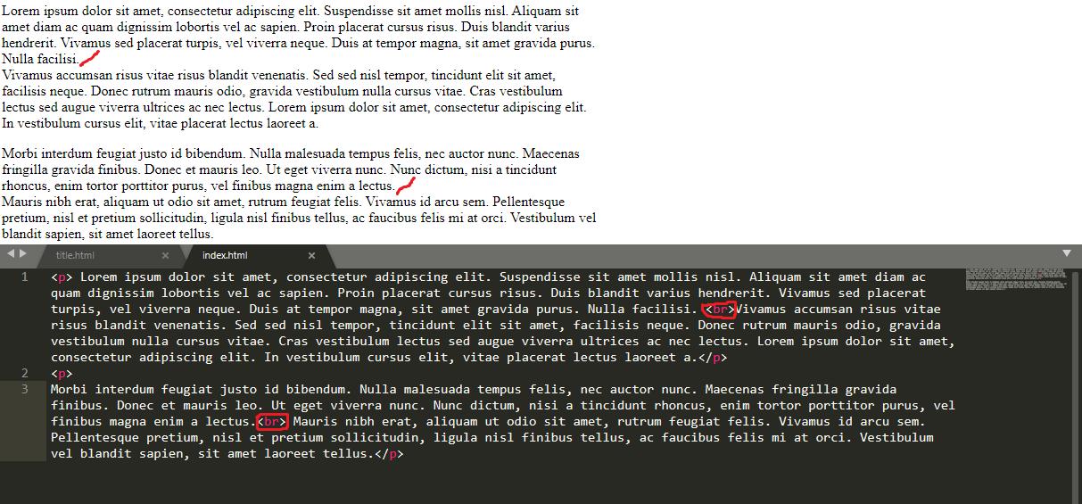 exemplo quebra de linha no html