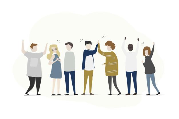 arte de uma equipe unida com marketing de relacionamento